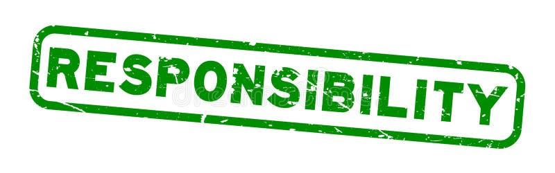 Vierkante rubberzegel van de Grunge de groene verantwoordelijkheid op witte achtergrond royalty-vrije illustratie