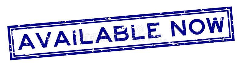 Vierkante rubberzegel van het Grunge de beschikbare nu woord op witte achtergrond royalty-vrije illustratie