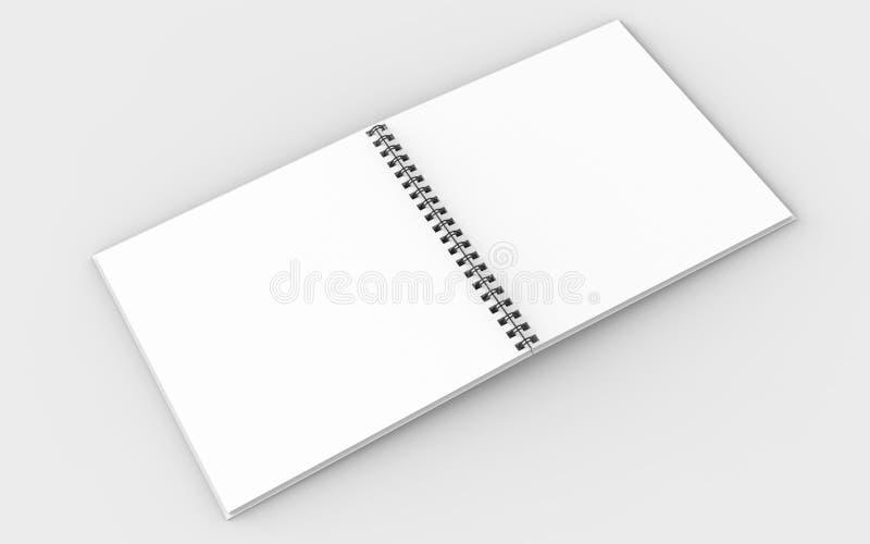 Vierkante spiraalvormige bindende die notitieboekjespot omhoog op zachte grijze bac wordt geïsoleerd vector illustratie