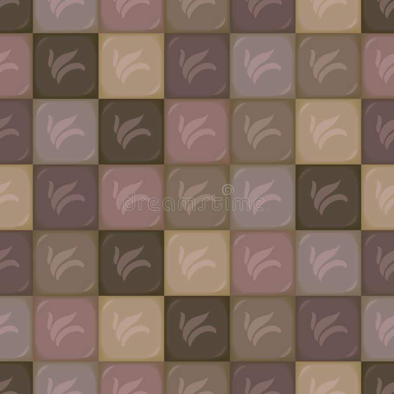 Vierkante vector convexe segmenten van chocolade van verschillende schaduwen van lichte zuivelfabriek aan donkere bruine bitter m vector illustratie