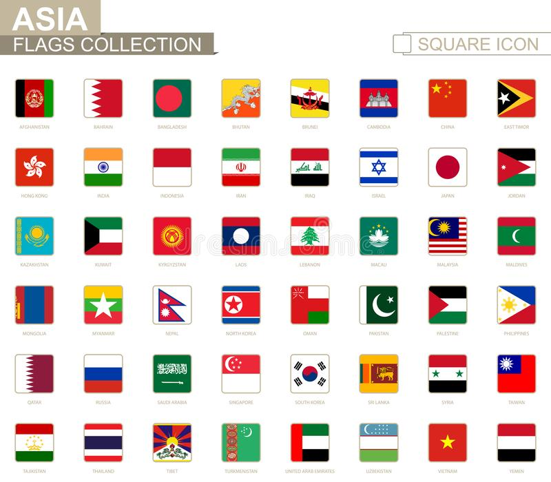 Vierkante vlaggen van Azië Van Afghanistan aan Yemen royalty-vrije illustratie