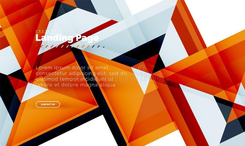 Vierkante vorm geometrische abstracte achtergrond, landend het ontwerpmalplaatje van het paginaweb royalty-vrije illustratie
