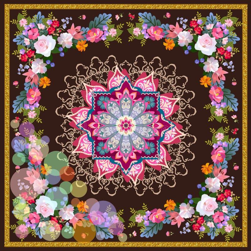 Vierkante zijdesjaal met gouden kader, bloemenslingers, kleurrijk bellen en medaillon in oosterse stijl kussen stock illustratie