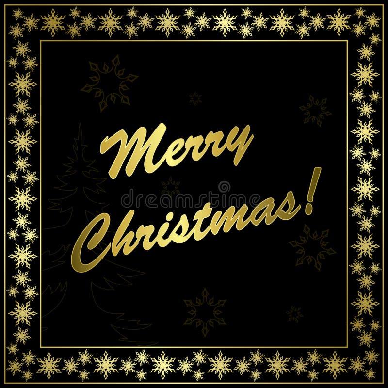 Vierkante zwarte Kerstmiskaart met gouden frame vector illustratie