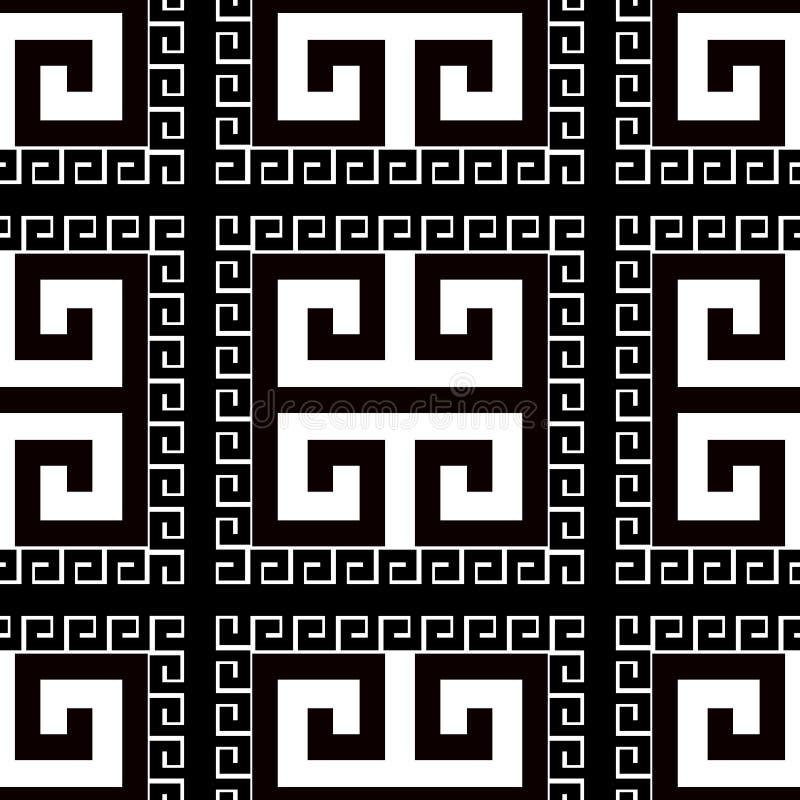 Vierkanten Grieks zwart-wit vector naadloos patroon Sier geruite radiale achtergrond Herhaal abstracte zwart-wit achtergrond royalty-vrije illustratie