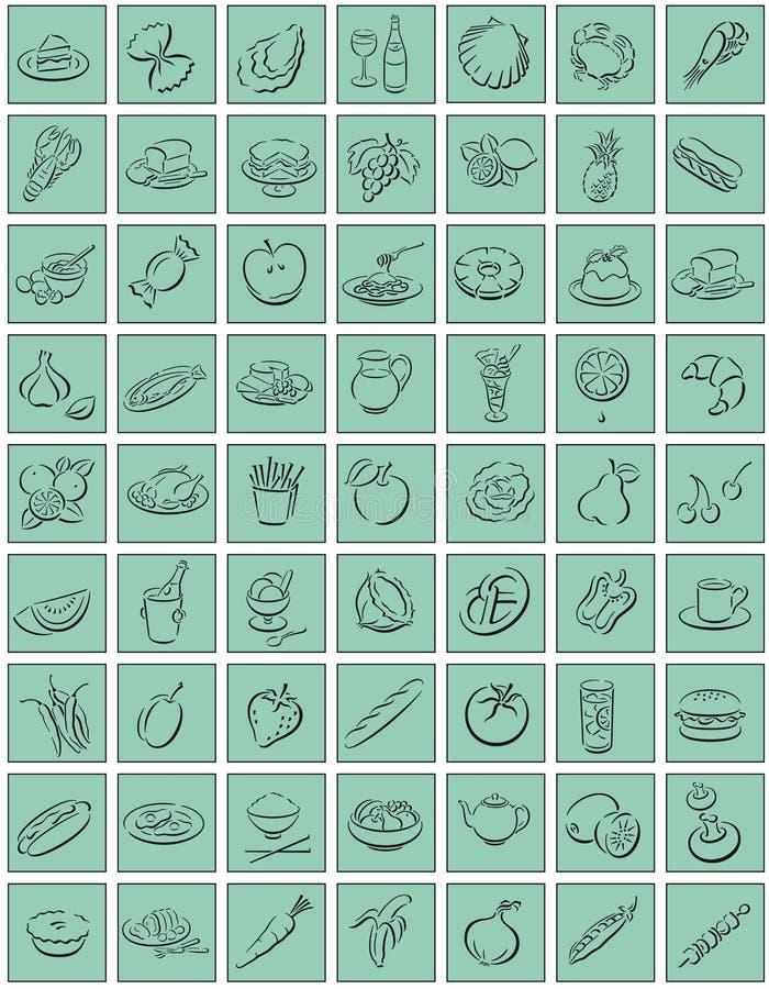Vierkanten met voedselsymbolen vector illustratie