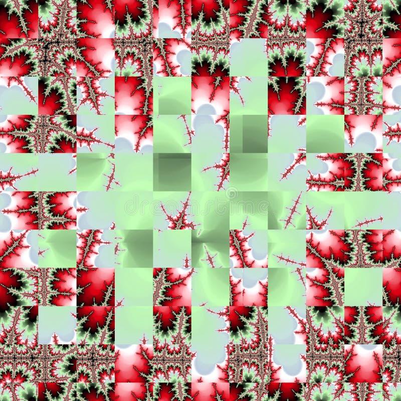 Vierkantenmozaïek in rode fractal rozen op groene achtergrond vector illustratie