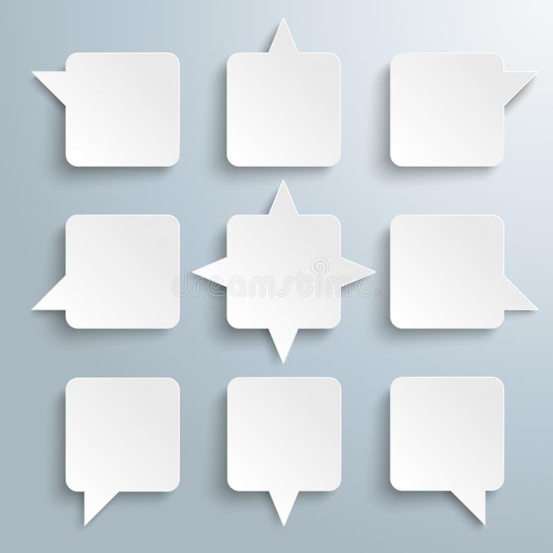 9 vierkantige Toespraakbellen vector illustratie