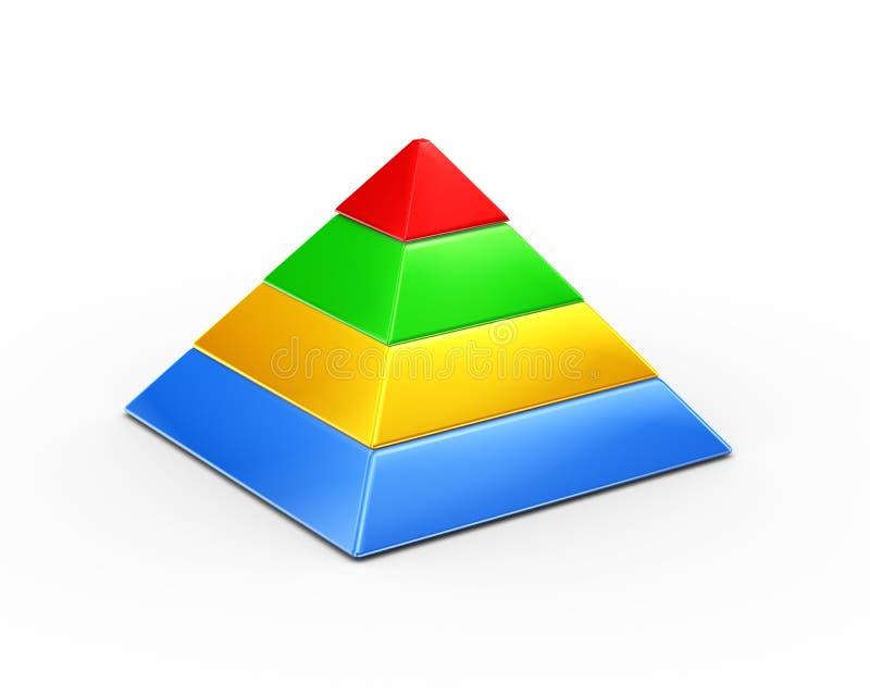 vierlagige Segmentpyramide der Farbe 3d lizenzfreie abbildung