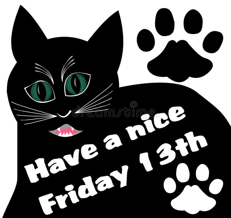 Viernes 13 con el gato enojado negro grueso y dos pistas del gato ilustración del vector
