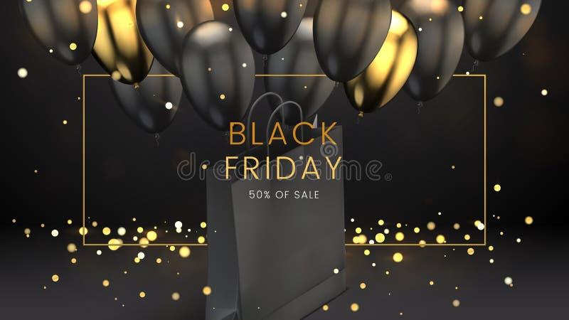 Viernes negro, el fondo oscuro abstracto de la venta con las luces que brillan intensamente, el marco de oro, globos y bolso de c ilustración del vector