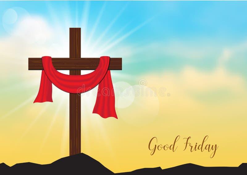 Viernes Santo El fondo con la cruz y el sol de madera irradia en SK stock de ilustración