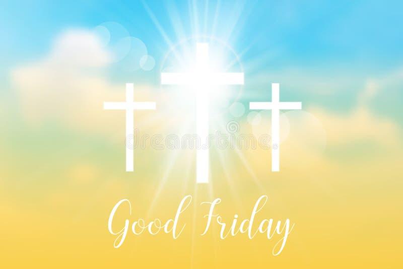 Viernes Santo Fondo con los rayos blancos de la cruz y del sol libre illustration