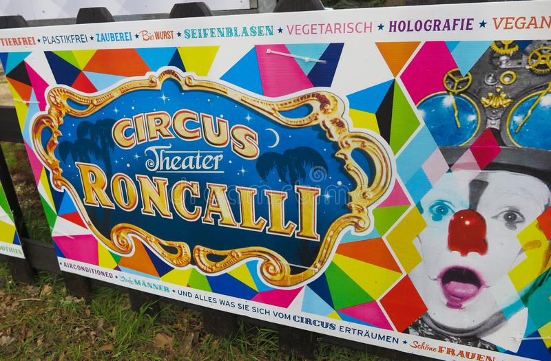 VIERSEN, GERMANY - MARCH 27. 2019: Colorful banner announce appearance of circus Roncalli stock photos