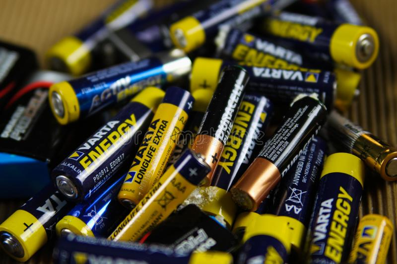 VIERSEN, GERMANY - MARCH 27. 2019: Pile of empty used batteries collected for special waste stock photo