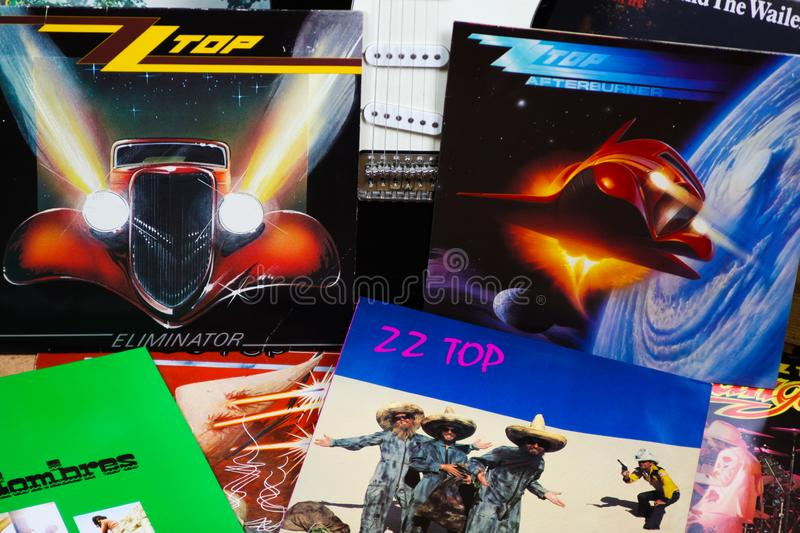 VIERSEN, GERMANY - MARCH 10. 2019: View on collection of ZZ Top vinyl records royalty free stock photography