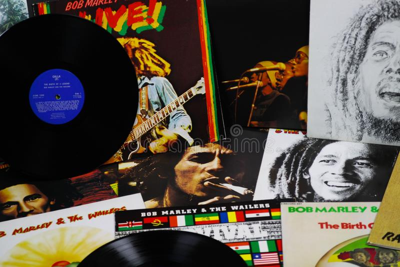 VIERSEN, GERMANY - MAY 1. 2019: View on Bob Marley vinyl record collection stock images