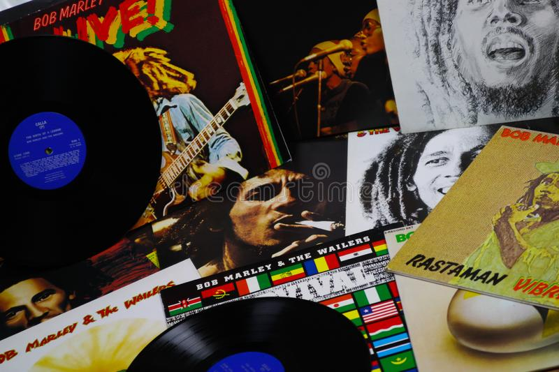 VIERSEN, GERMANY - MAY 1. 2019: View on Bob Marley vinyl record collection royalty free stock image