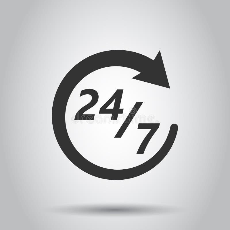 Vierstündliche Ikone der Uhr zwanzig in der flachen Art 24/7 Service-Zeitillustration auf weißem Hintergrund Rund um die Uhr Zeic vektor abbildung