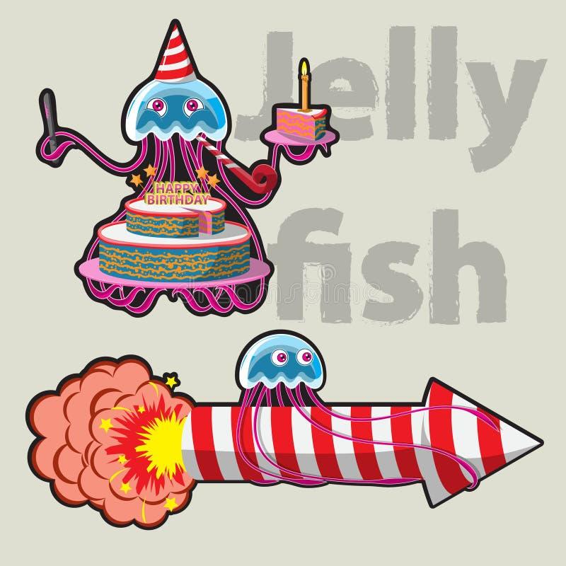 Viert de karakter grappige kwal zijn Verjaardag en vliegt aan het vuurwerk beeld royalty-vrije illustratie