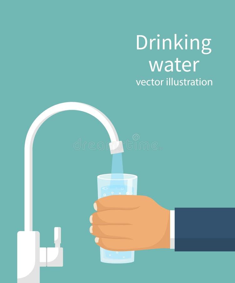 Vierta el agua en el vidrio del filtro stock de ilustración