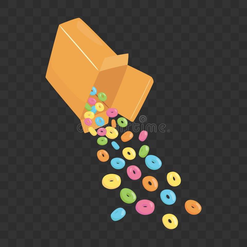 Vierta el cereal de la caja stock de ilustración