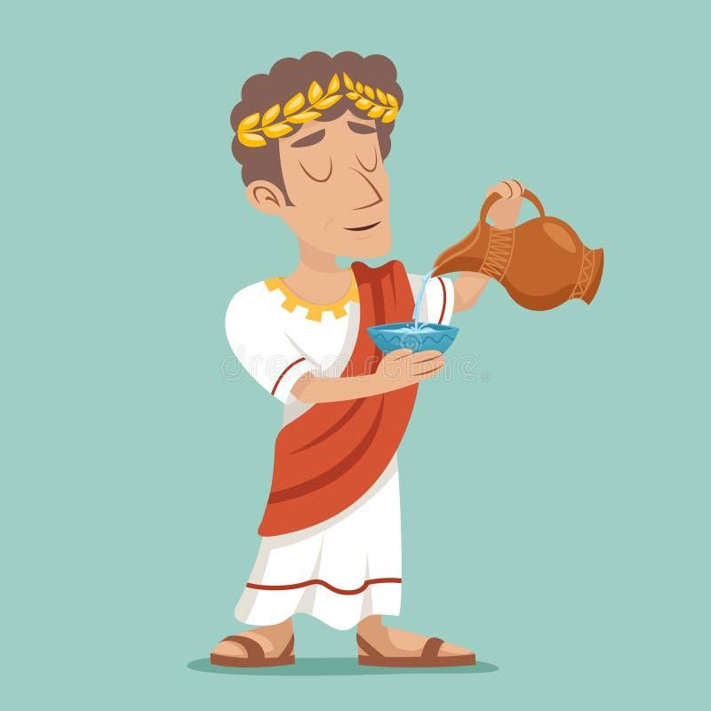 Vierta el ejemplo del vector del diseño de la vid del agua del icono del personaje de dibujos animados de Roman Greek Retro Vinta libre illustration
