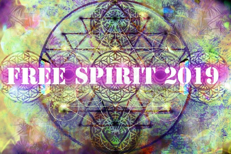 Vierta el espíritu libre 2019 del feliciter en fondo espiritual abstracto stock de ilustración