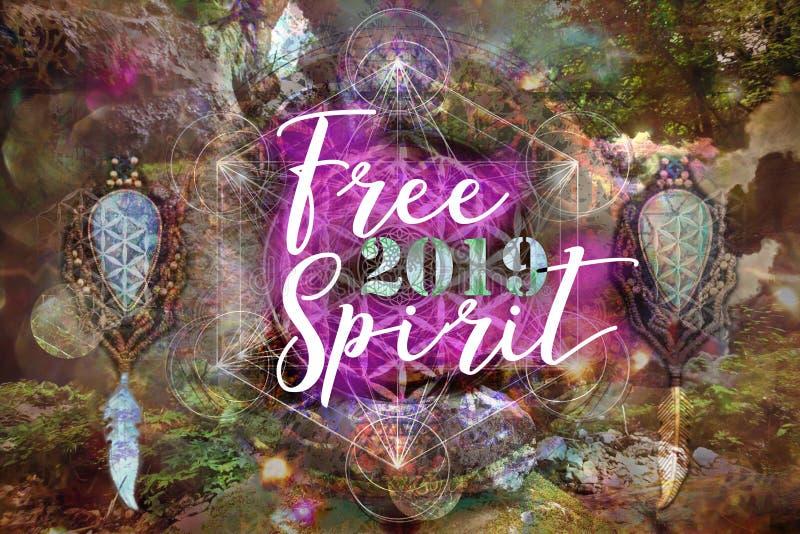 Vierta el espíritu libre 2019 del feliciter en fondo espiritual abstracto ilustración del vector