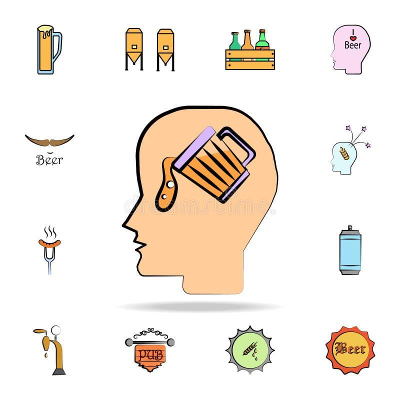 vierta el icono coloreado cerveza del estilo del bosquejo Sistema detallado de iconos dibujados del estilo de la cerveza del colo libre illustration