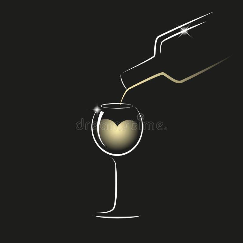 Vierta el vino blanco de una botella en una copa libre illustration