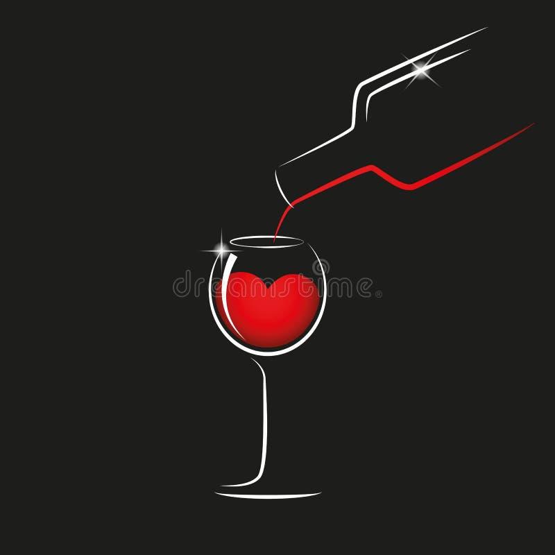 Vierta el vino tinto de una botella en una copa libre illustration