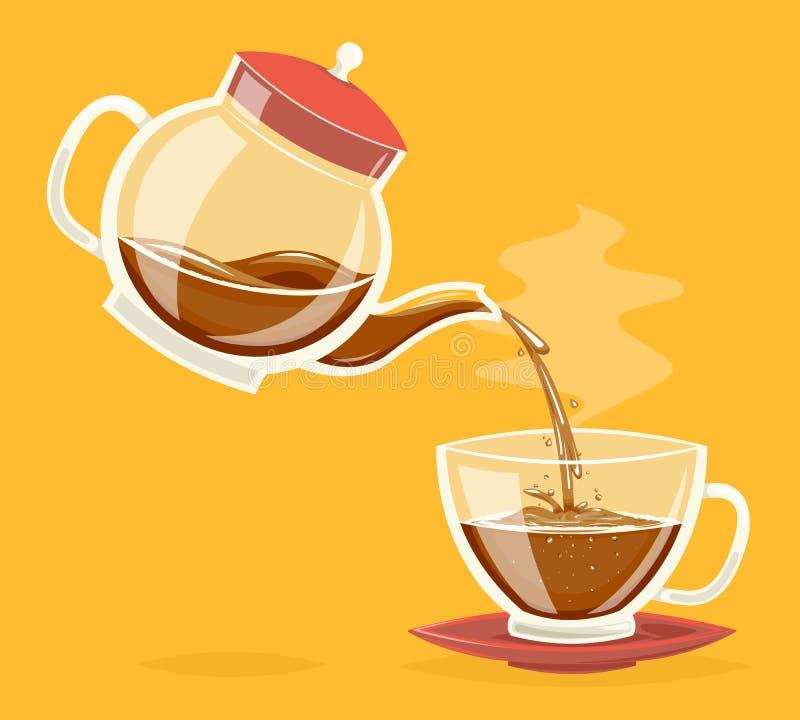 Vierta la bebida del café del ejemplo retro del vector del diseño del icono de la historieta del vintage de la tetera de corrient ilustración del vector