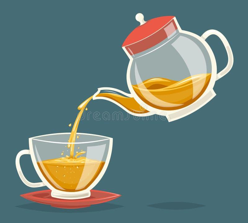 Vierta la bebida del té del ejemplo retro del vector del diseño del icono de la historieta del vintage de la tetera de corriente  ilustración del vector