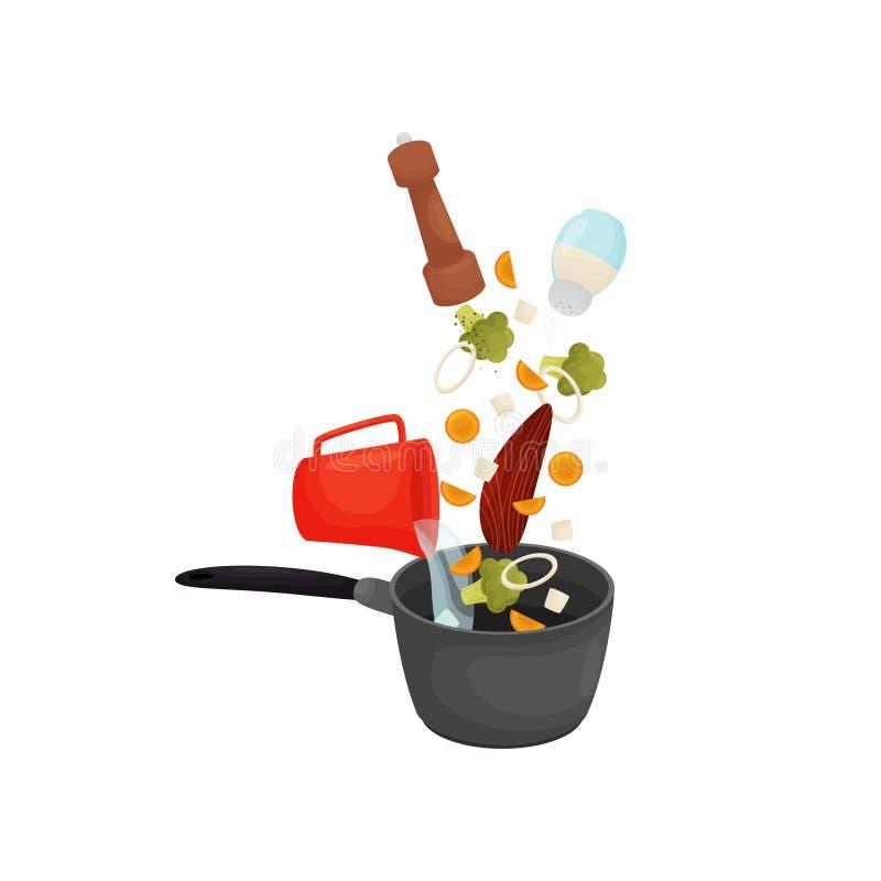 Vierta la carne, las zanahorias, las cebollas, las pimientas y la sal en un cazo Ilustraci?n del vector stock de ilustración