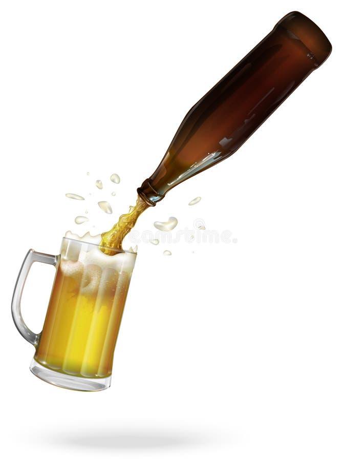 Vierta la cerveza Botella de cerveza Taza con la cerveza Vector libre illustration