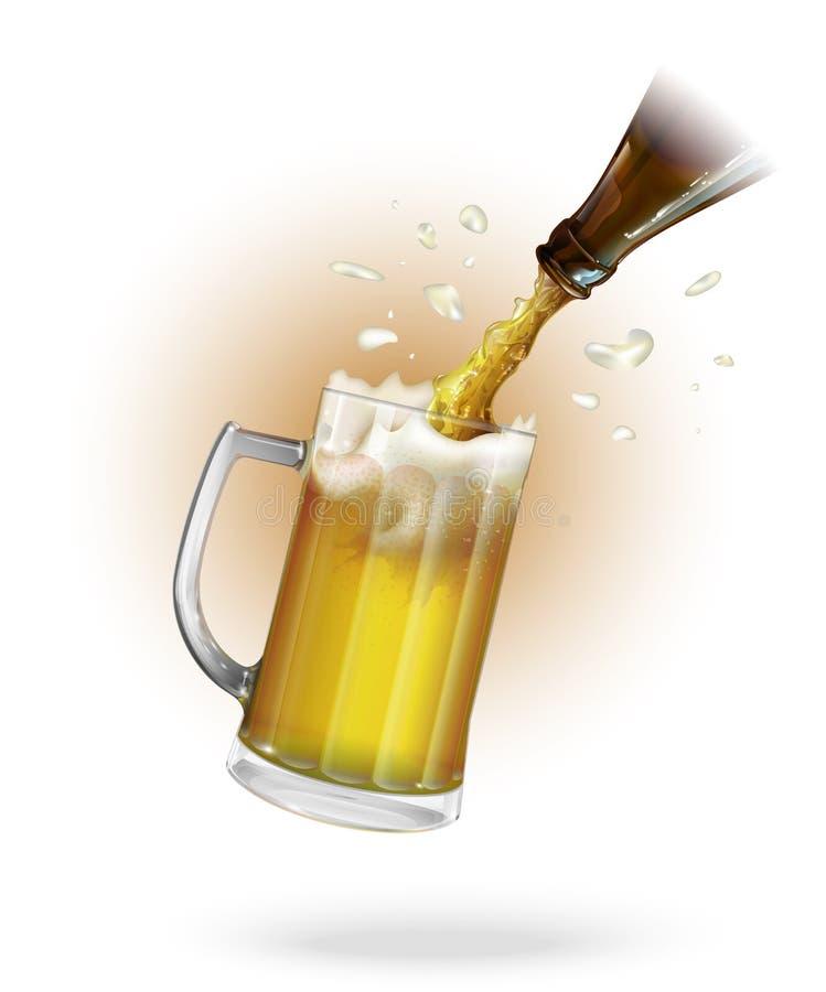 Vierta la cerveza Botella de cerveza Taza con la cerveza Vector stock de ilustración