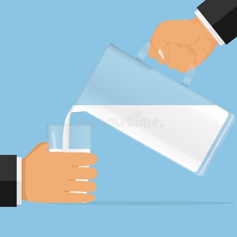 Vierta la leche en un vidrio La mano vierte la leche en el vidrio ilustración del vector