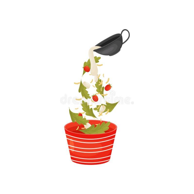 Vierta las bayas y las hojas para la ensalada en el cuenco Ilustraci?n del vector libre illustration