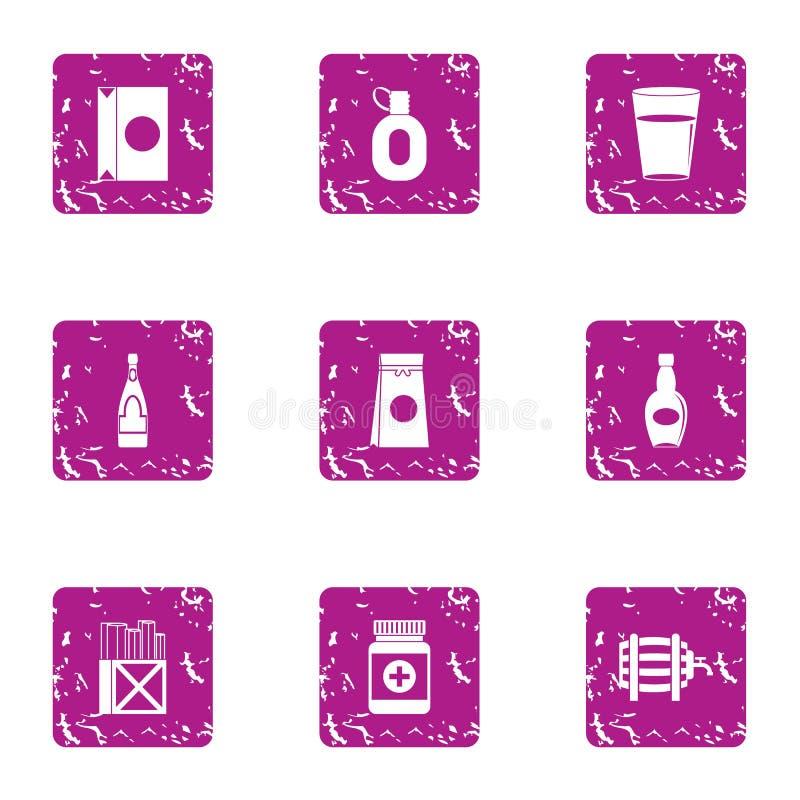 Vierta los iconos fijados, estilo del tubo del grunge stock de ilustración