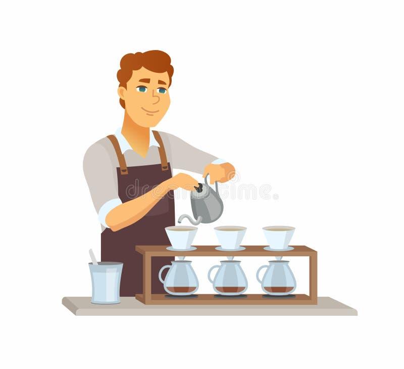 Vierta sobre el café - ejemplo de los caracteres de la gente de la historieta ilustración del vector
