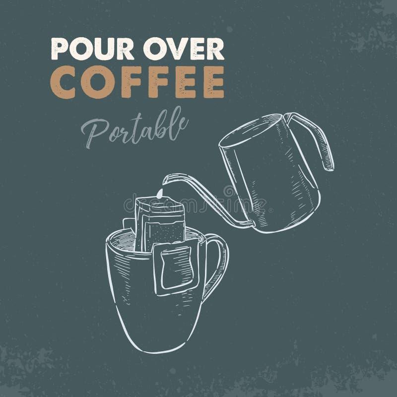 Vierta sobre el café portátil, vector del bosquejo libre illustration