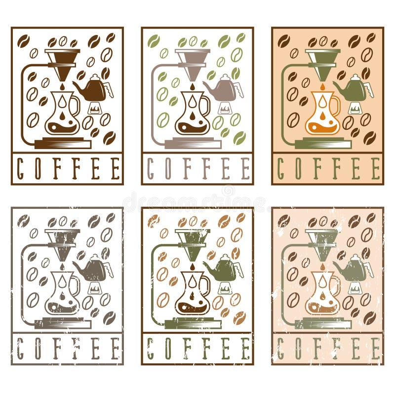 Vierta sobre vintage de las etiquetas del café stock de ilustración