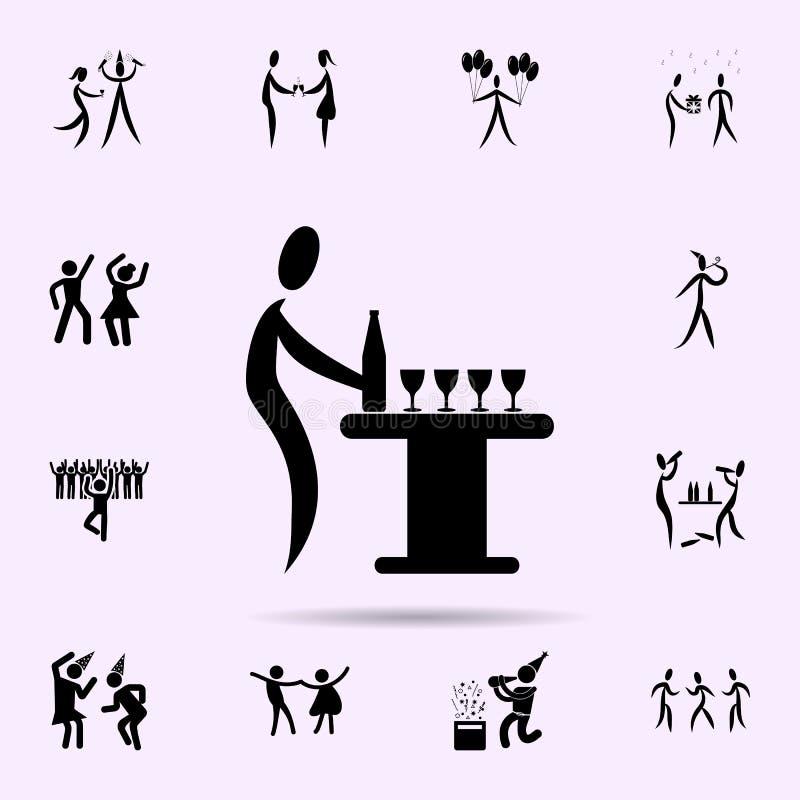 vierta un icono de la bebida Vaya de fiesta el sistema universal de los iconos para el web y el m?vil libre illustration