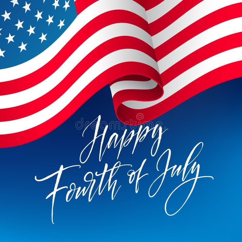 Viertel der Juli-Feierfahne, Grußkartendesign Glücklicher Unabhängigkeitstag der Hand der Vereinigten Staaten von Amerika lizenzfreie abbildung