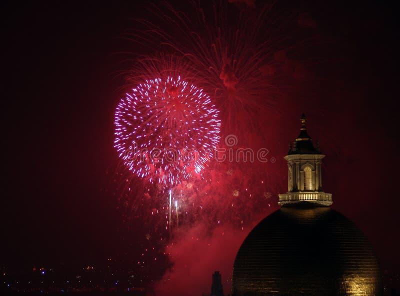 Viertel der Juli-Feuerwerke in Boston 2006 stockfoto