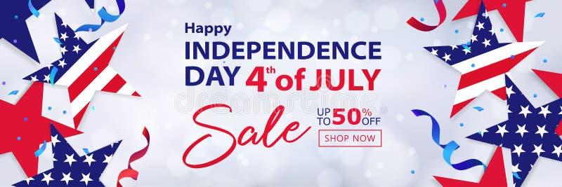 Viertel der langen horizontalen Fahne Juli-Verkaufs 4. des Juli-Feiertagshintergrundes lizenzfreie abbildung
