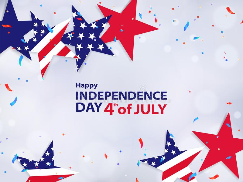 Viertel von Juli 4. der Juli-Feiertagsfahne, Hintergrund für Verkauf, Rabatt, Anzeige, Netz stock abbildung