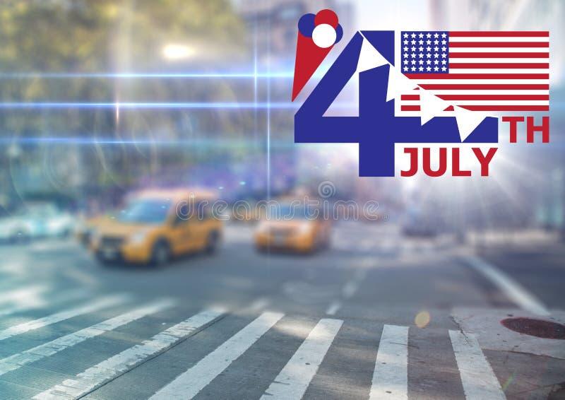 Viertel von Juli-Grafik mit Flaggen und von Eiscreme gegen undeutliches Straßenbild mit Aufflackern vektor abbildung