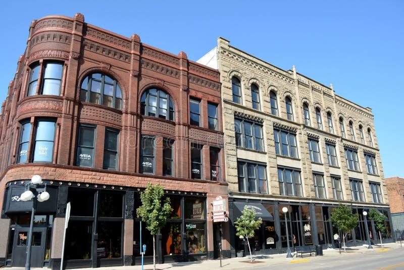 Vierter Straßen-Bezirk in Sioux City, Iowa. stockfotografie